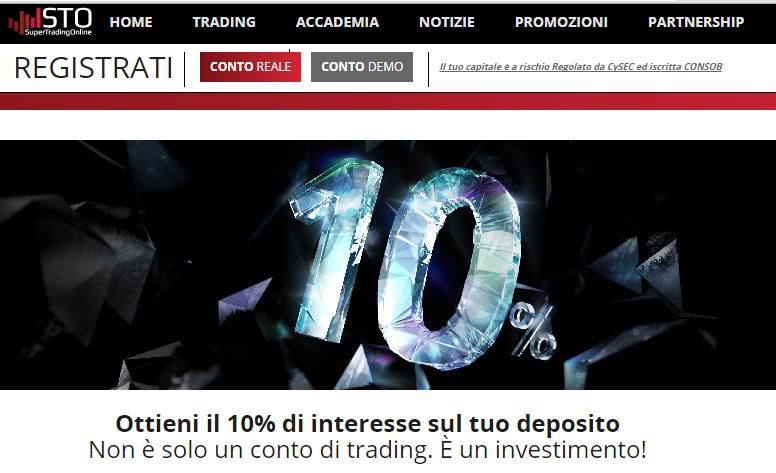 Conto trading con interessi 10%