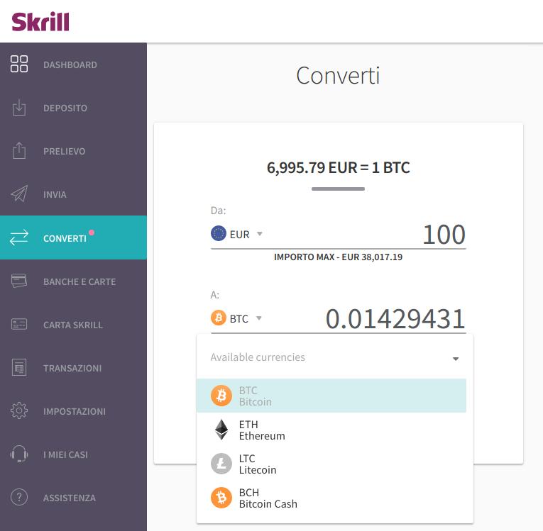 Skrill presenta il suo Exchange di Criptovalute